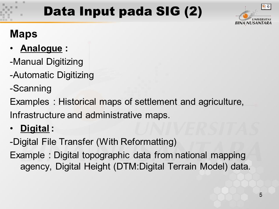 4 Data Input pada SIG (1) Maps RADARSAT Problem Solving…..