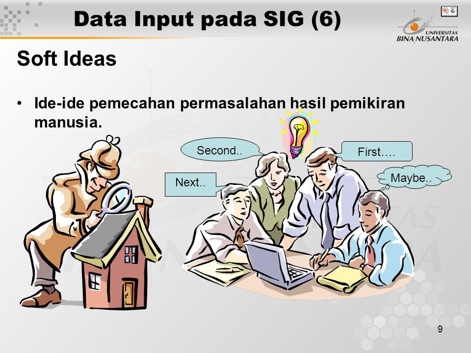 19 Penutup Mahasiswa diharapkan telah mampu menjelaskan mengenai contoh-contoh data input dan data output pada SIG, serta cara konversi dari data mentah (raw data) menjadi sebuah database SIG yang terintegrasi.