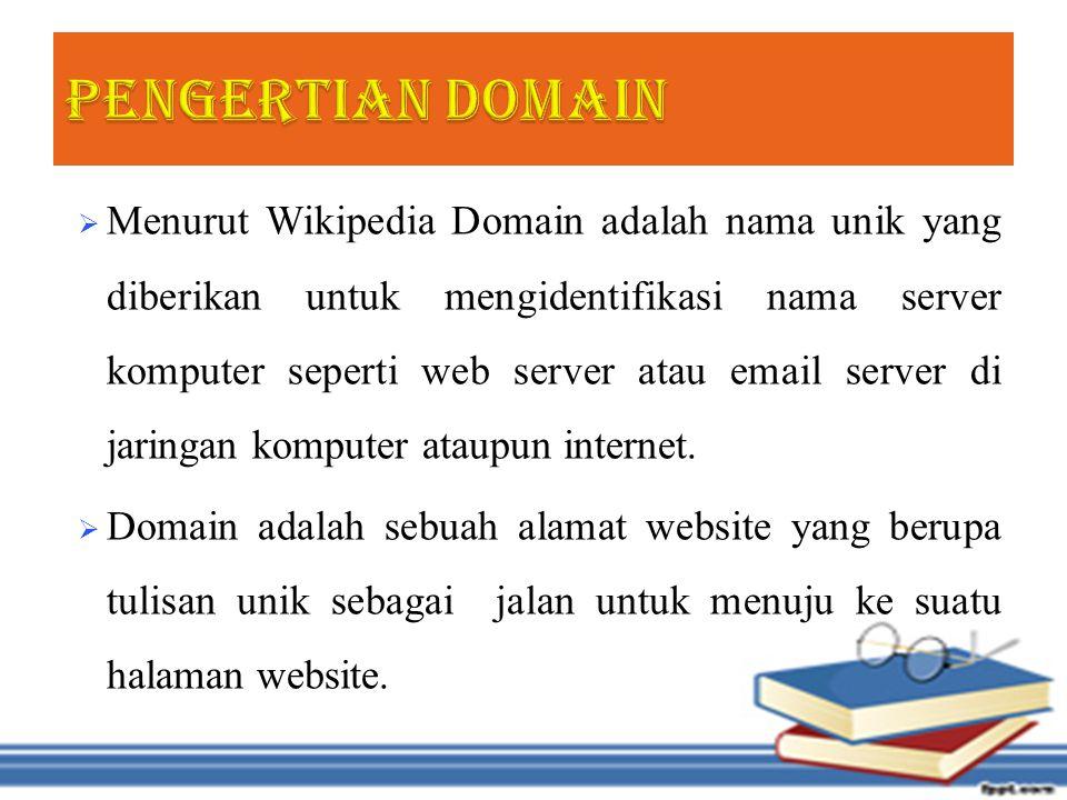  Menurut Wikipedia Domain adalah nama unik yang diberikan untuk mengidentifikasi nama server komputer seperti web server atau email server di jaringan komputer ataupun internet.