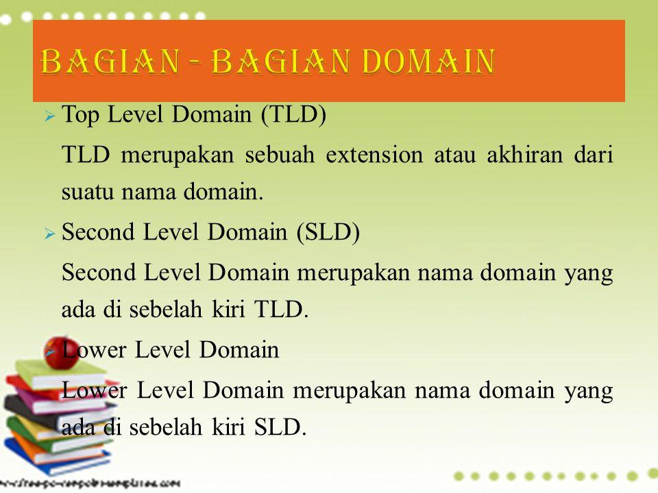  Top Level Domain (TLD) TLD merupakan sebuah extension atau akhiran dari suatu nama domain.