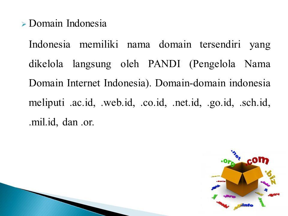  Domain Indonesia Indonesia memiliki nama domain tersendiri yang dikelola langsung oleh PANDI (Pengelola Nama Domain Internet Indonesia).