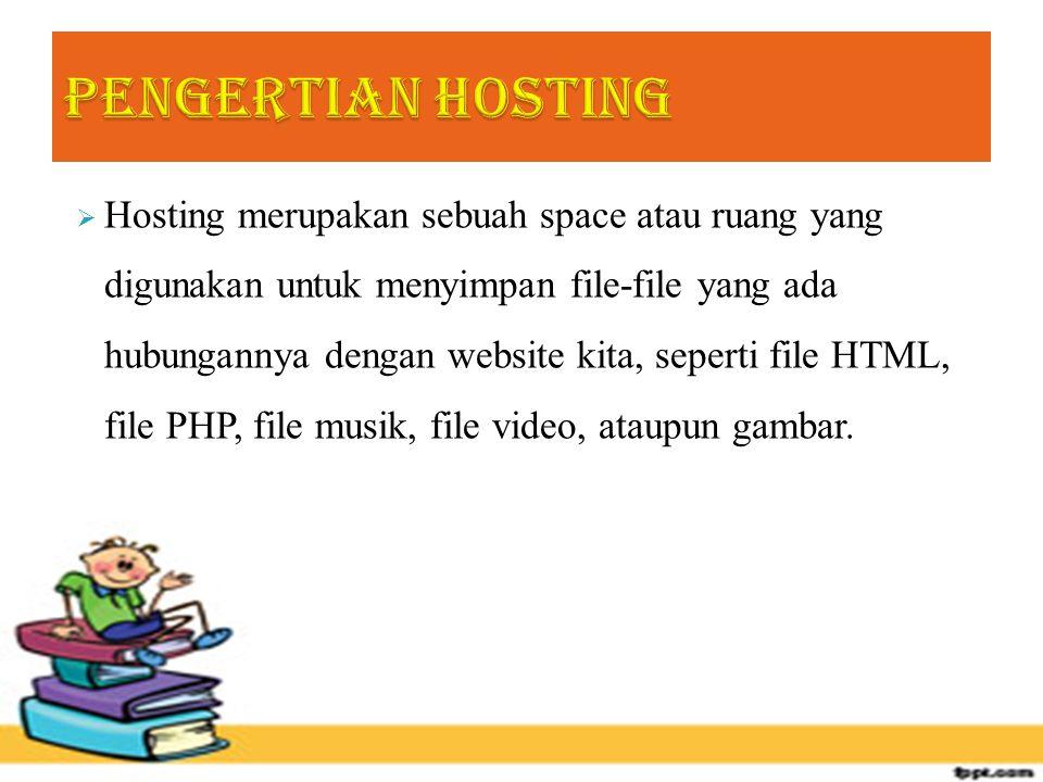  Hosting merupakan sebuah space atau ruang yang digunakan untuk menyimpan file-file yang ada hubungannya dengan website kita, seperti file HTML, file PHP, file musik, file video, ataupun gambar.