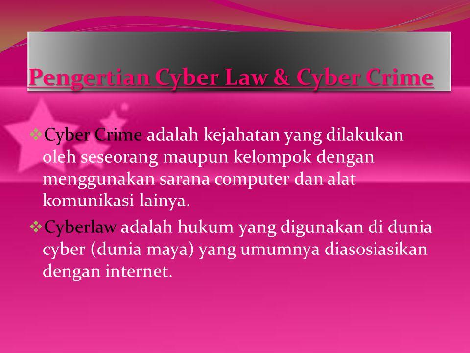 Pengertian Cyber Law & Cyber Crime  Cyber Crime adalah kejahatan yang dilakukan oleh seseorang maupun kelompok dengan menggunakan sarana computer dan alat komunikasi lainya.
