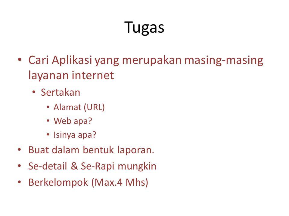 Tugas Cari Aplikasi yang merupakan masing-masing layanan internet Sertakan Alamat (URL) Web apa.