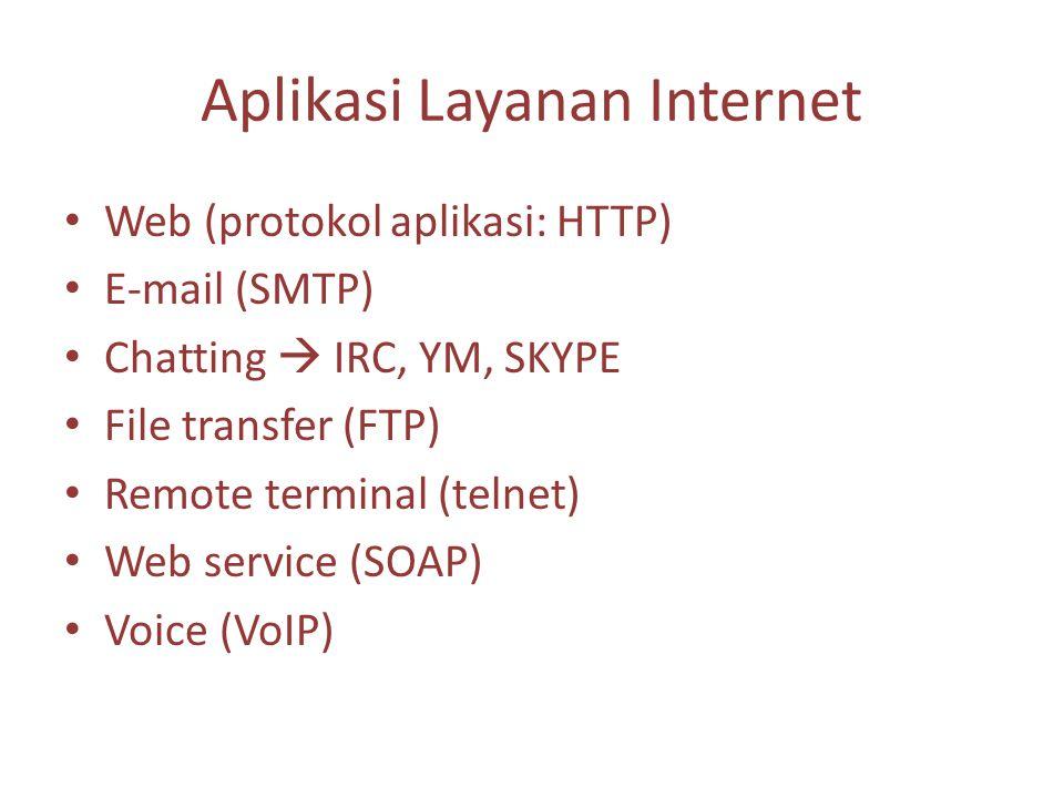 Aplikasi Layanan Internet Web (protokol aplikasi: HTTP) E-mail (SMTP) Chatting  IRC, YM, SKYPE File transfer (FTP) Remote terminal (telnet) Web service (SOAP) Voice (VoIP)