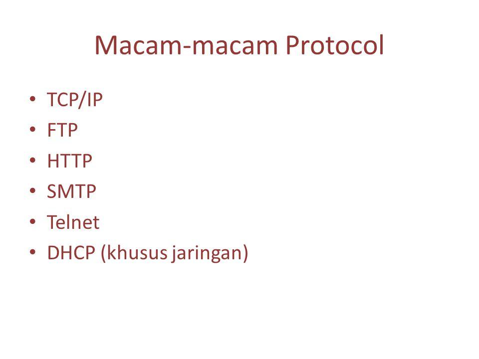 Macam-macam Protocol TCP/IP FTP HTTP SMTP Telnet DHCP (khusus jaringan)