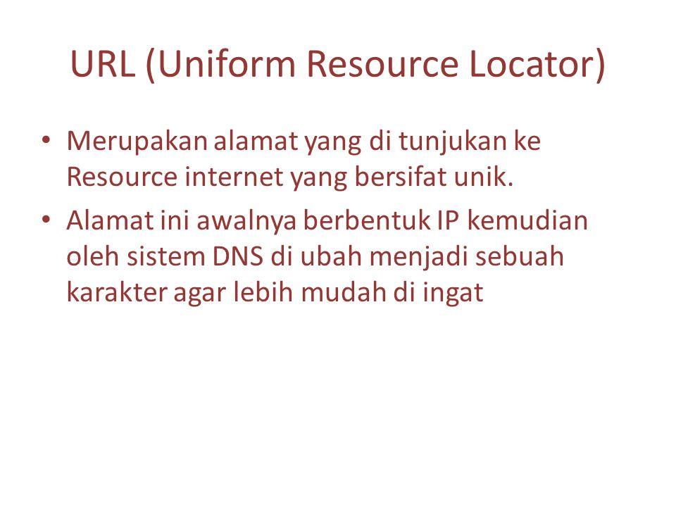 URL (Uniform Resource Locator) Merupakan alamat yang di tunjukan ke Resource internet yang bersifat unik.
