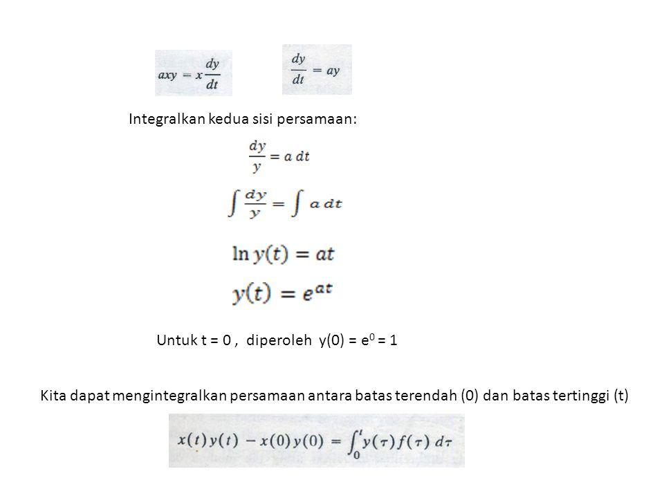 Subtitusi y(t) pada persamaan di atas, diperoleh: Soal: Sebuah rangkaian RC seperti pada gambar, hitung tegangan di kapasitor, bila E = 100 Volt, dan v(0) =5 Volt