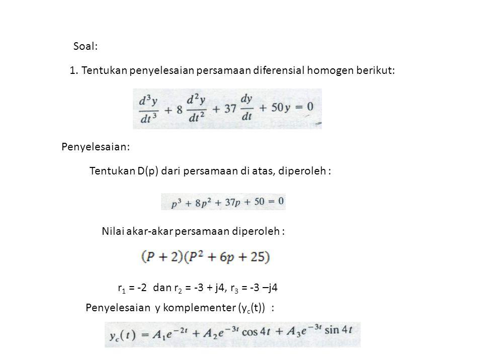 Soal: 1. Tentukan penyelesaian persamaan diferensial homogen berikut: Penyelesaian: Tentukan D(p) dari persamaan di atas, diperoleh : Nilai akar-akar