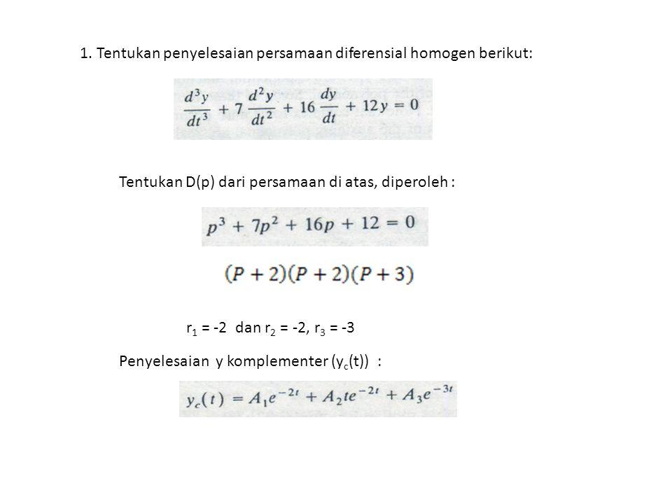 1. Tentukan penyelesaian persamaan diferensial homogen berikut: Tentukan D(p) dari persamaan di atas, diperoleh : r 1 = -2 dan r 2 = -2, r 3 = -3 Peny