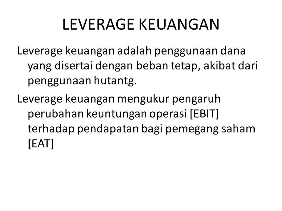 LEVERAGE KEUANGAN Leverage keuangan adalah penggunaan dana yang disertai dengan beban tetap, akibat dari penggunaan hutantg.