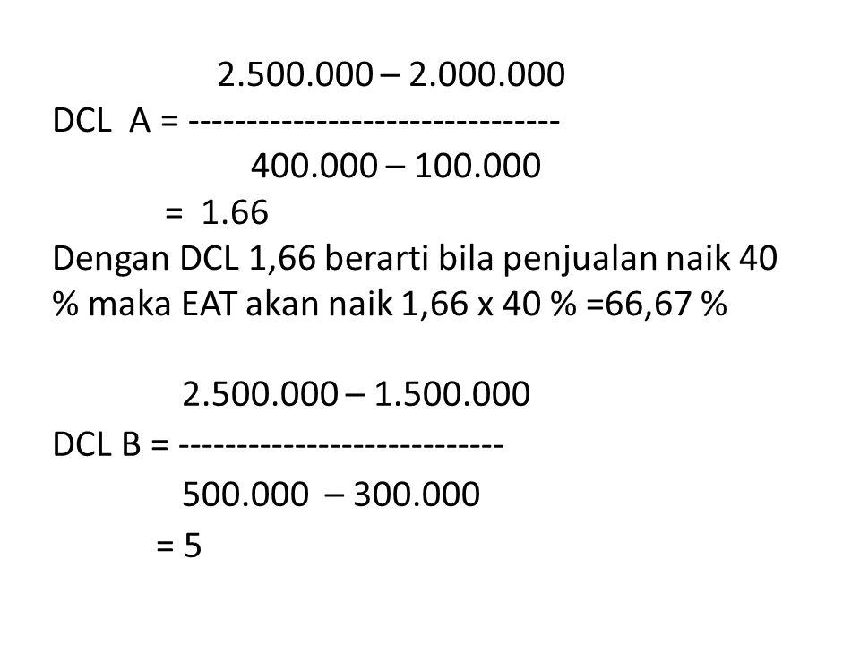 2.500.000 – 2.000.000 DCL A = -------------------------------- 400.000 – 100.000 = 1.66 Dengan DCL 1,66 berarti bila penjualan naik 40 % maka EAT akan naik 1,66 x 40 % =66,67 % 2.500.000 – 1.500.000 DCL B = ---------------------------- 500.000 – 300.000 = 5
