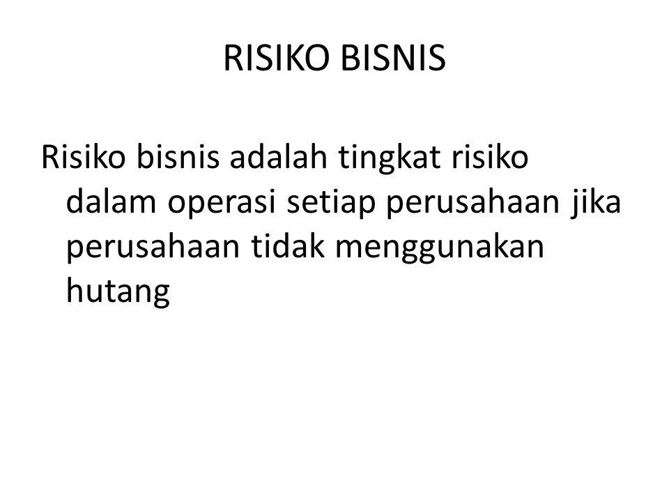 RISIKO BISNIS Risiko bisnis adalah tingkat risiko dalam operasi setiap perusahaan jika perusahaan tidak menggunakan hutang