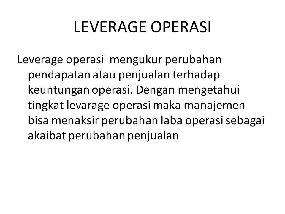 LEVERAGE OPERASI Leverage operasi mengukur perubahan pendapatan atau penjualan terhadap keuntungan operasi.