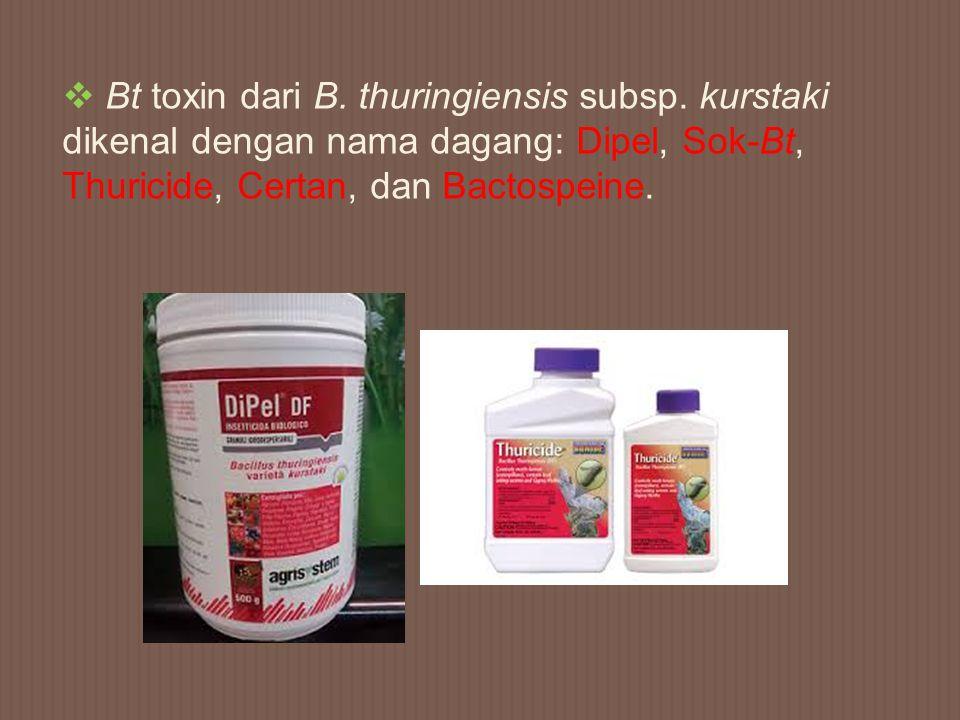  Bt toxin dari B. thuringiensis subsp. kurstaki dikenal dengan nama dagang: Dipel, Sok-Bt, Thuricide, Certan, dan Bactospeine.