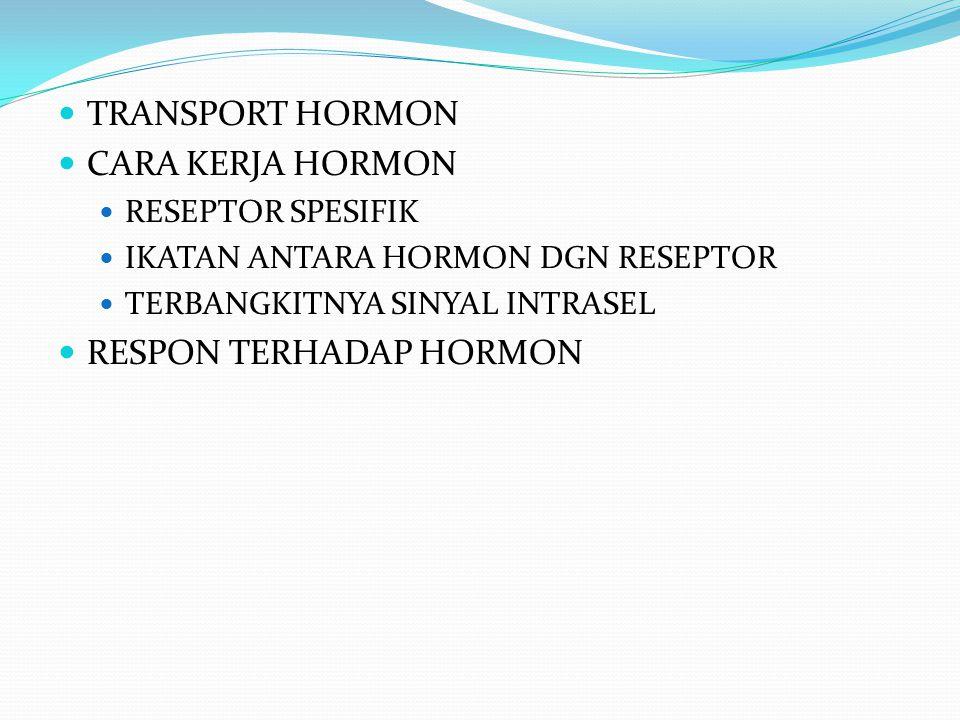 TRANSPORT HORMON CARA KERJA HORMON RESEPTOR SPESIFIK IKATAN ANTARA HORMON DGN RESEPTOR TERBANGKITNYA SINYAL INTRASEL RESPON TERHADAP HORMON