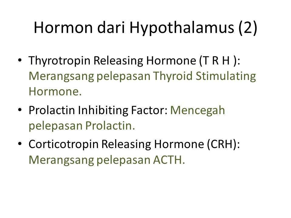 Hormon dari Hypothalamus (2) Thyrotropin Releasing Hormone (T R H ): Merangsang pelepasan Thyroid Stimulating Hormone. Prolactin Inhibiting Factor: Me