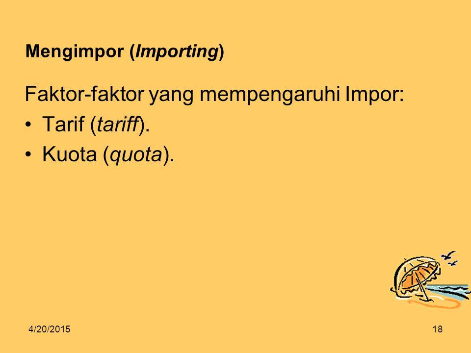 4/20/201518 Mengimpor (Importing) Faktor-faktor yang mempengaruhi Impor: Tarif (tariff).