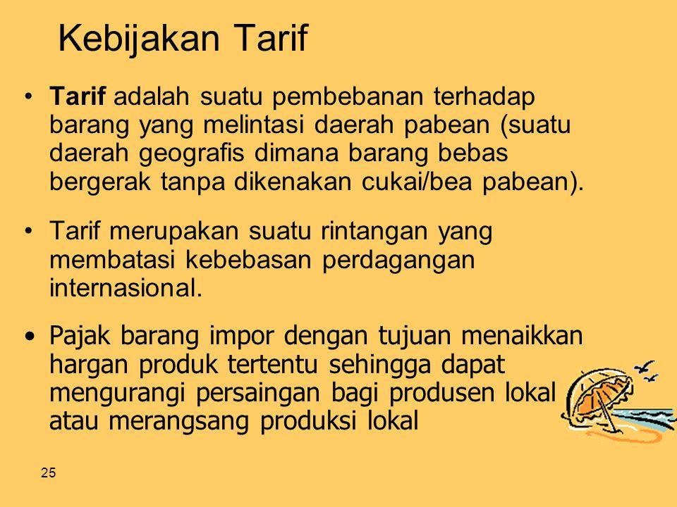 25 Kebijakan Tarif Tarif adalah suatu pembebanan terhadap barang yang melintasi daerah pabean (suatu daerah geografis dimana barang bebas bergerak tanpa dikenakan cukai/bea pabean).