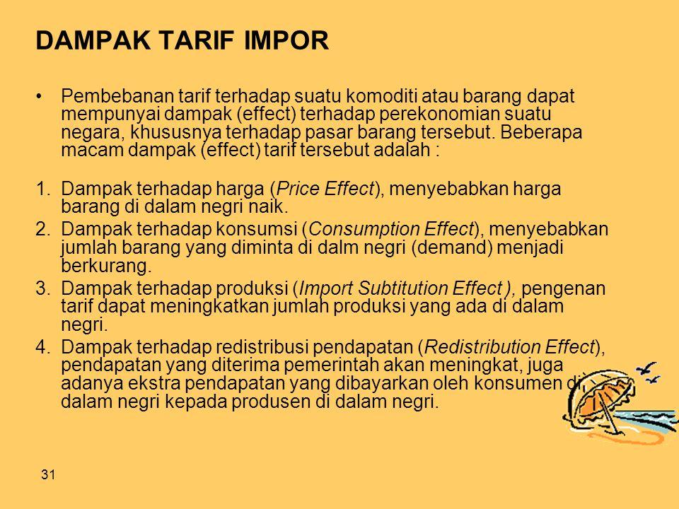 31 DAMPAK TARIF IMPOR Pembebanan tarif terhadap suatu komoditi atau barang dapat mempunyai dampak (effect) terhadap perekonomian suatu negara, khususnya terhadap pasar barang tersebut.