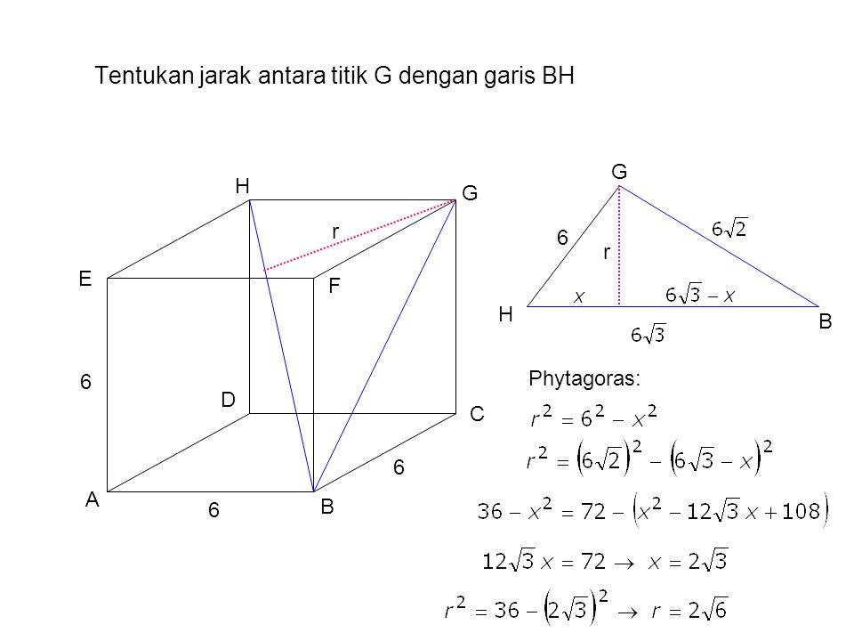 Tentukan jarak antara titik G dengan garis BH A B H G F E D C 6 6 6 Phytagoras: r BG H 6 r