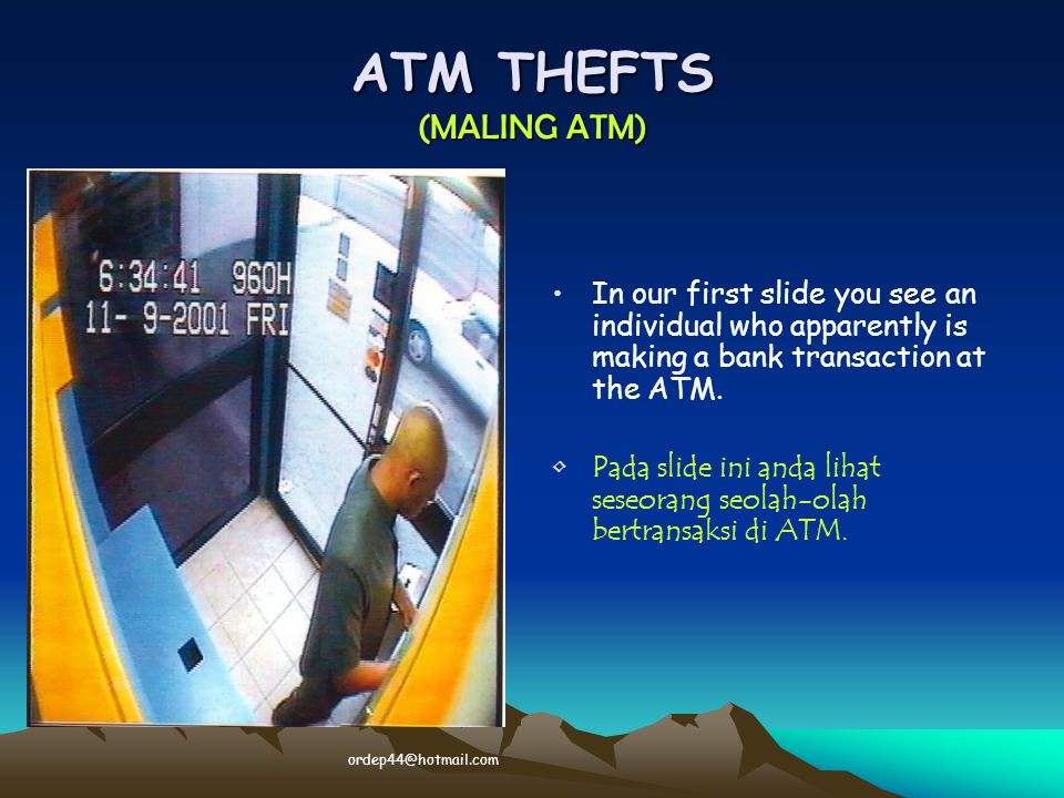 What he really is doing is placing a trap in the ATM machine to capture the next user card.