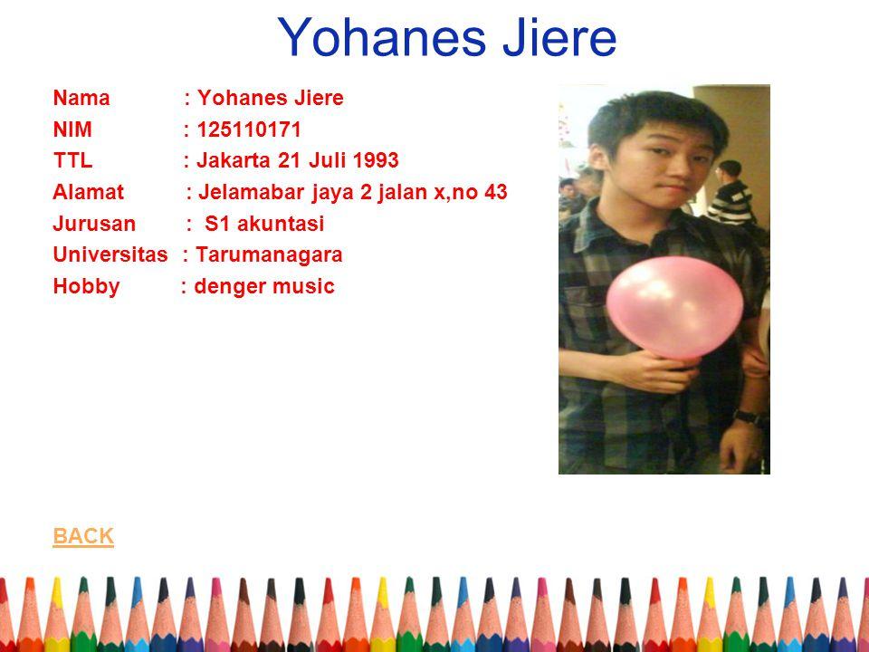 Yohanes Jiere Nama : Yohanes Jiere NIM : 125110171 TTL : Jakarta 21 Juli 1993 Alamat : Jelamabar jaya 2 jalan x,no 43 Jurusan : S1 akuntasi Universitas : Tarumanagara Hobby : denger music BACK