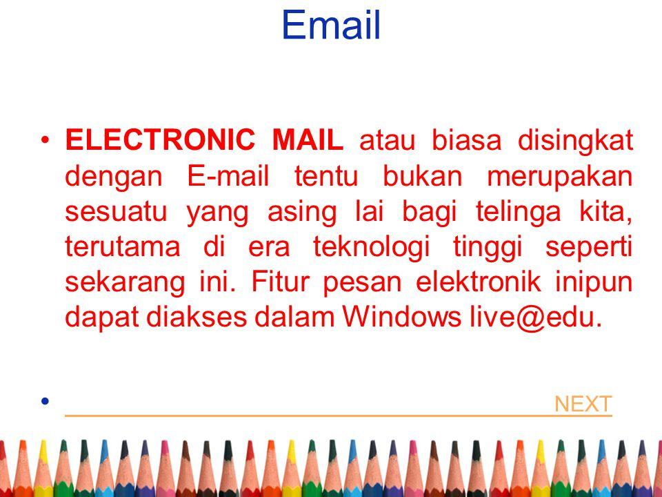 Email ELECTRONIC MAIL atau biasa disingkat dengan E-mail tentu bukan merupakan sesuatu yang asing lai bagi telinga kita, terutama di era teknologi tin