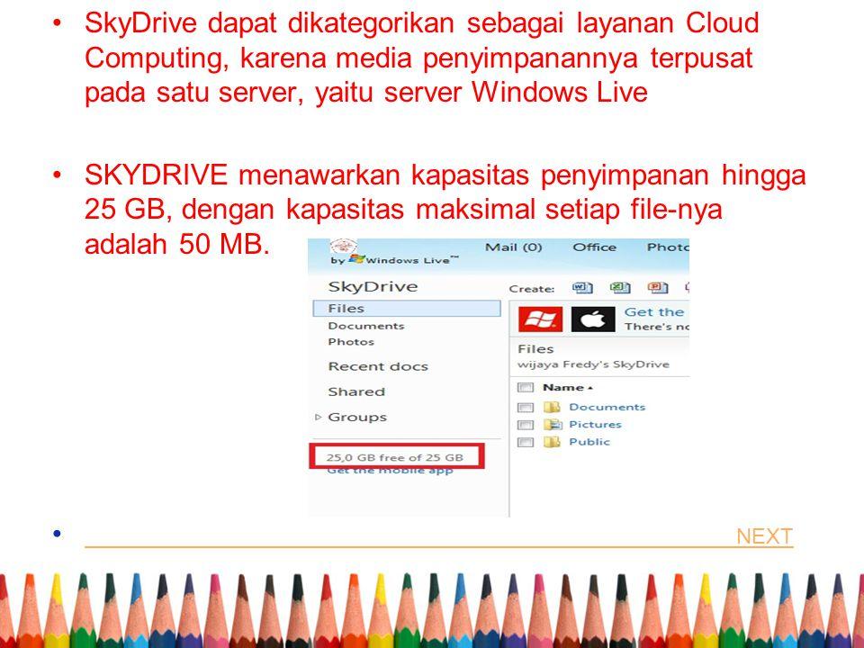 SkyDrive dapat dikategorikan sebagai layanan Cloud Computing, karena media penyimpanannya terpusat pada satu server, yaitu server Windows Live SKYDRIVE menawarkan kapasitas penyimpanan hingga 25 GB, dengan kapasitas maksimal setiap file-nya adalah 50 MB.