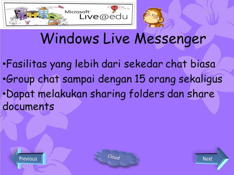 Windows Live Spaces Dapat membuat suatu space untuk proyek bersama, unit kegiatan siswa atau space pribadi Dapat menghubungkan dengan dokumen- dokumen