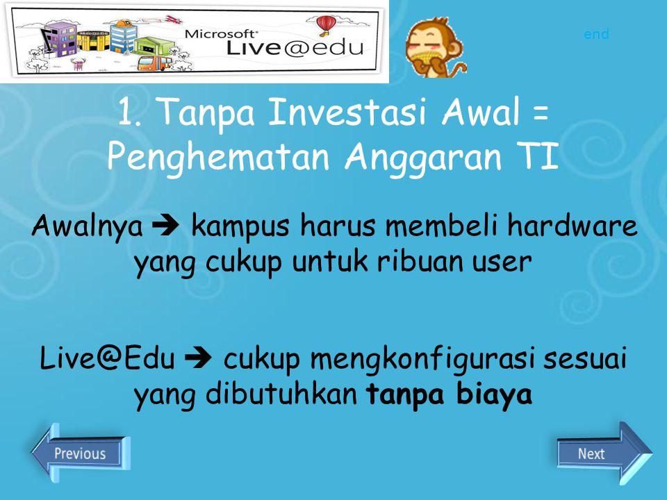 Kenapa Kampus kita menggunakan Live@edu? 1.Tanpa Investasi Awal = Penghematan Anggaran TI 2.Lentur dan Mudah Dikembangkan 3.Kampus Dapat Fokus pada Pe