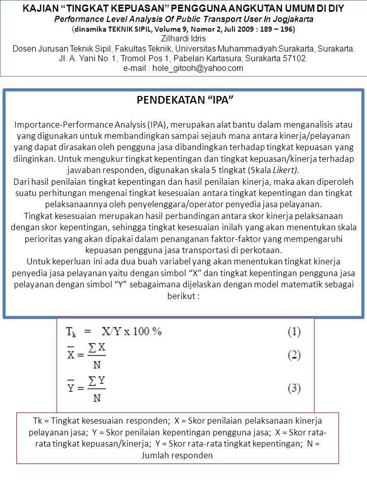 "KAJIAN ""TINGKAT KEPUASAN"" PENGGUNA ANGKUTAN UMUM DI DIY Performance Level Analysis Of Public Transport User In Jogjakarta ( dinamika TEKNIK SIPIL, Vol"