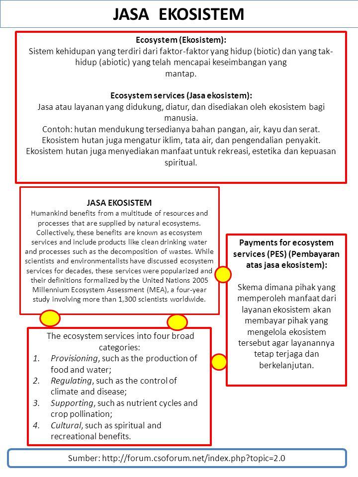 JASA EKOSISTEM Sumber: http://forum.csoforum.net/index.php?topic=2.0 Ecosystem (Ekosistem): Sistem kehidupan yang terdiri dari faktor-faktor yang hidu