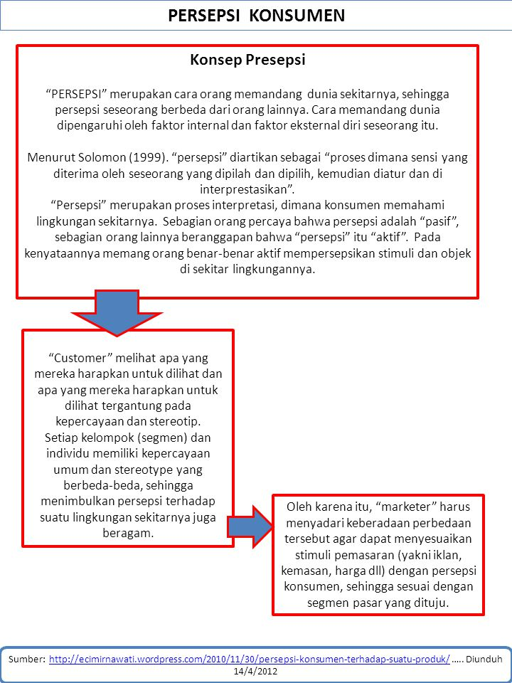 PERSEPSI KONSUMEN Sumber: http://ecimirnawati.wordpress.com/2010/11/30/persepsi-konsumen-terhadap-suatu-produk/ ….. Diunduh 14/4/2012http://ecimirnawa