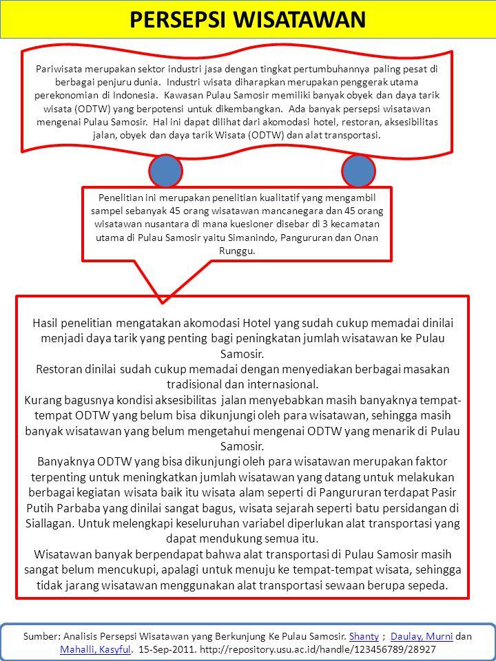 PERSEPSI WISATAWAN Sumber: Analisis Persepsi Wisatawan yang Berkunjung Ke Pulau Samosir. Shanty ; Daulay, Murni dan Mahalli, Kasyful. 15-Sep-2011. htt