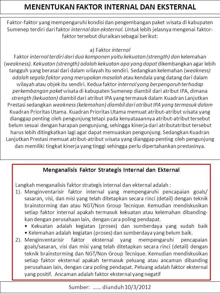 MENENTUKAN FAKTOR INTERNAL DAN EKSTERNAL Sumber: …… diunduh 10/3/2012 Faktor-faktor yang mempengaruhi kondisi dan pengembangan paket wisata di kabupat