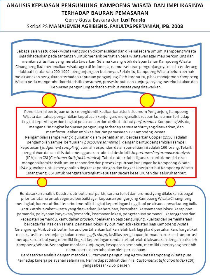 ANALISIS KEPUASAN PENGUNJUNG KAMPOENG WISATA DAN IMPLIKASINYA TERHADAP BAURAN PEMASARAN Gerry Gusta Baskara dan Lusi Fausia Skripsi PS MANAJEMEN AGRIB