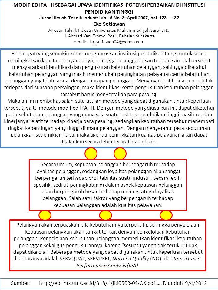 MODIFIED IPA - II SEBAGAI UPAYA IDENTIFIKASI POTENSI PERBAIKAN DI INSTITUSI PENDIDIKAN TINGGI Jurnal Ilmiah Teknik Industri Vol. 5 No. 3, April 2007,
