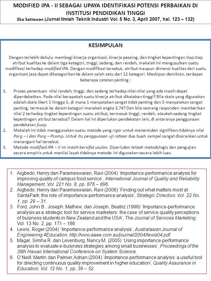 MODIFIED IPA - II SEBAGAI UPAYA IDENTIFIKASI POTENSI PERBAIKAN DI INSTITUSI PENDIDIKAN TINGGI Eko Setiawan ( Jurnal Ilmiah Teknik Industri Vol. 5 No.