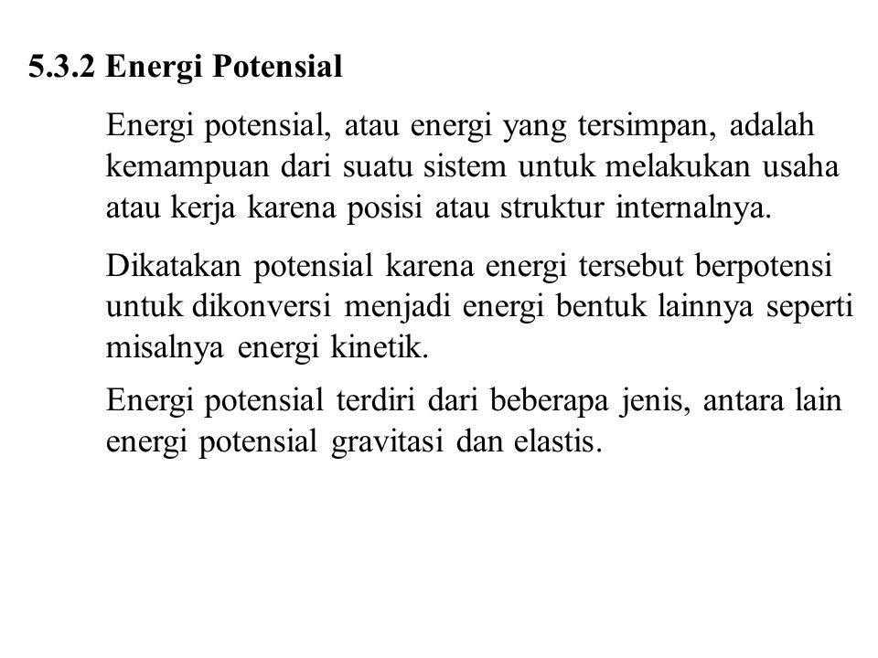 5.3.2 Energi Potensial Energi potensial, atau energi yang tersimpan, adalah kemampuan dari suatu sistem untuk melakukan usaha atau kerja karena posisi atau struktur internalnya.
