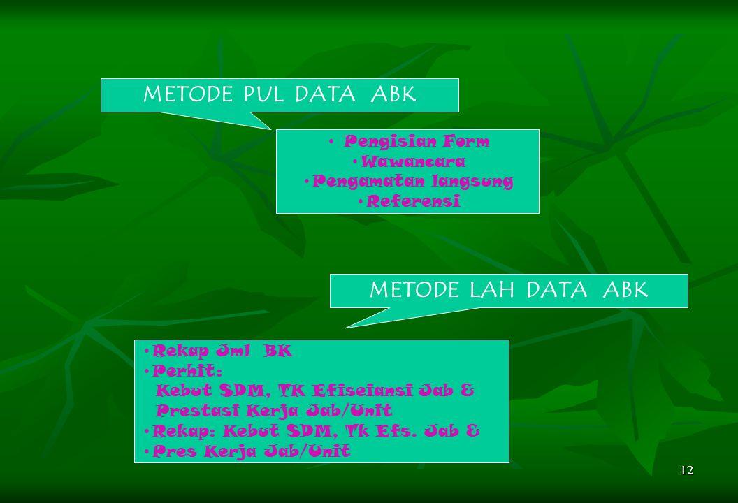 12 METODE PUL DATA ABK Pengisian Form Wawancara Pengamatan langsung Referensi METODE LAH DATA ABK Rekap Jml BK Perhit: Kebut SDM, TK Efiseiansi Jab &