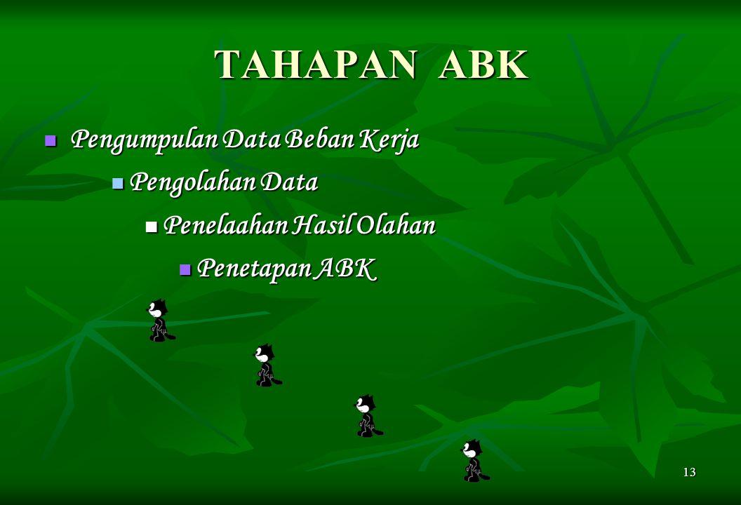 13 TAHAPAN ABK Pengumpulan Data Beban Kerja Pengumpulan Data Beban Kerja Pengolahan Data Pengolahan Data Penelaahan Hasil Olahan Penelaahan Hasil Olah