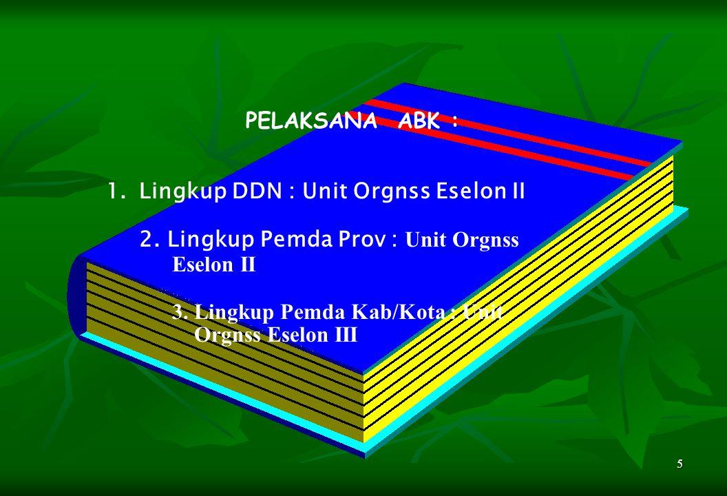 5 PELAKSANA ABK : 1.Lingkup DDN : Unit Orgnss Eselon II 2. Lingkup Pemda Prov : Unit Orgnss Eselon II 3. Lingkup Pemda Kab/Kota : Unit Orgnss Eselon I