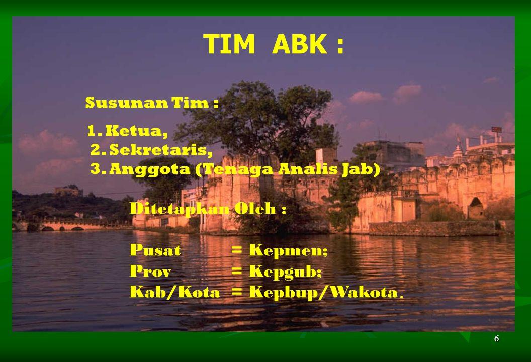 6 TIM ABK : Susunan Tim : 1. Ketua, 2. Sekretaris, 3. Anggota (Tenaga Analis Jab) Ditetapkan Oleh : Pusat = Kepmen; Prov = Kepgub; Kab/Kota = Kepbup/W