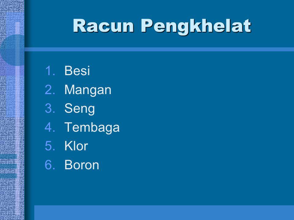 Racun Pengkhelat 1.Besi 2.Mangan 3.Seng 4.Tembaga 5.Klor 6.Boron