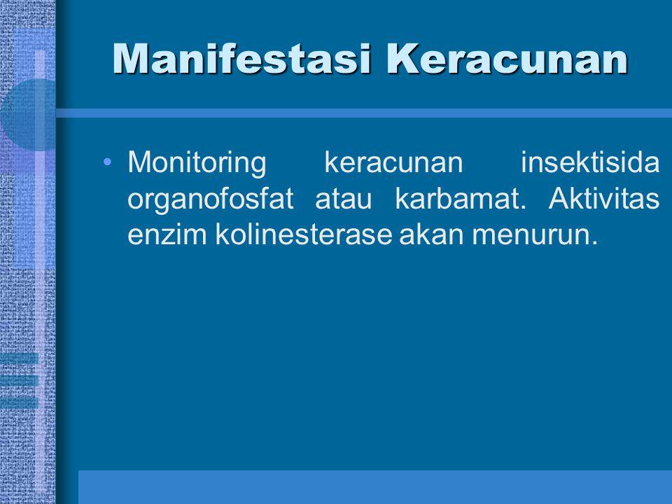Manifestasi Keracunan Monitoring keracunan insektisida organofosfat atau karbamat. Aktivitas enzim kolinesterase akan menurun.