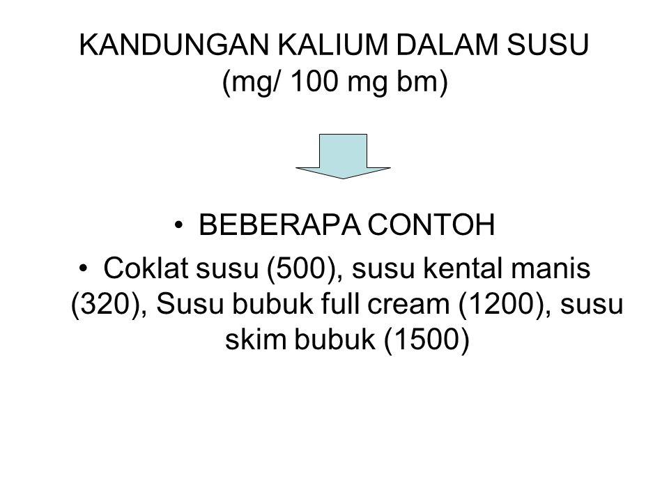 KANDUNGAN KALIUM DALAM SUSU (mg/ 100 mg bm) BEBERAPA CONTOH Coklat susu (500), susu kental manis (320), Susu bubuk full cream (1200), susu skim bubuk