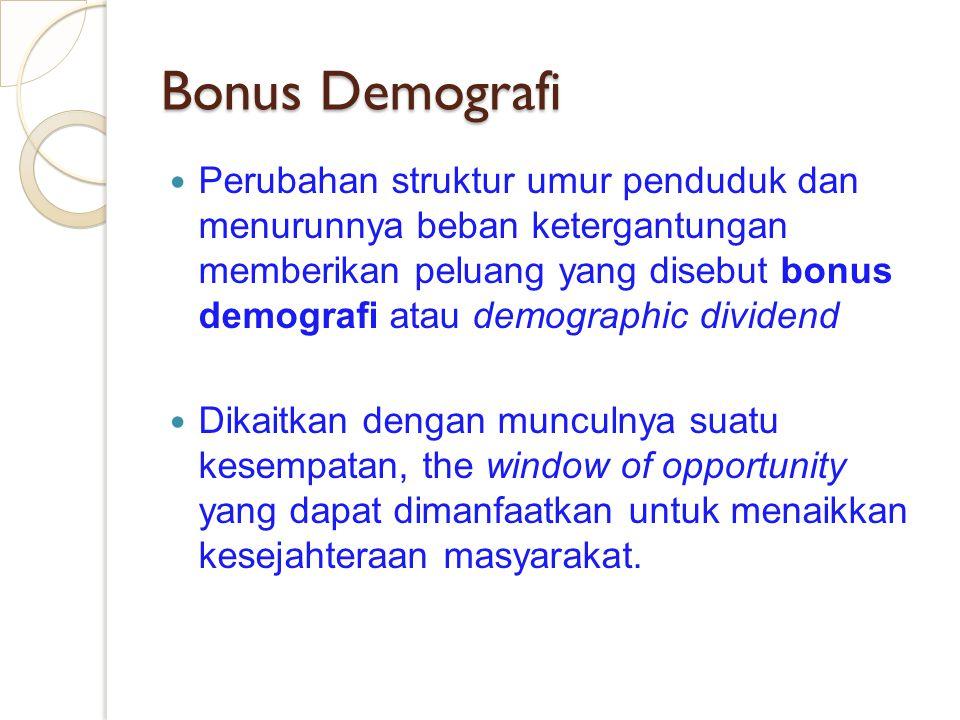 Bonus Demografi Perubahan struktur umur penduduk dan menurunnya beban ketergantungan memberikan peluang yang disebut bonus demografi atau demographic