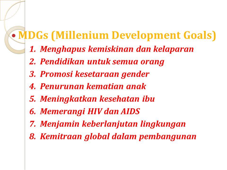MDGs (Millenium Development Goals) 1.Menghapus kemiskinan dan kelaparan 2.Pendidikan untuk semua orang 3.Promosi kesetaraan gender 4.Penurunan kematia