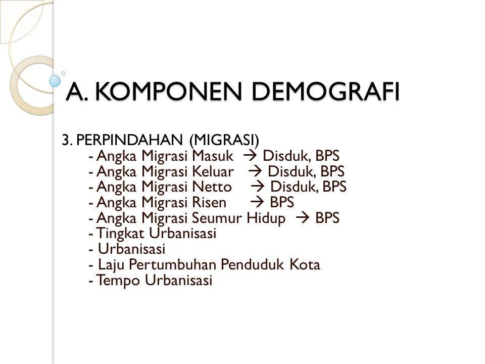 A. KOMPONEN DEMOGRAFI 3. PERPINDAHAN (MIGRASI) - Angka Migrasi Masuk  Disduk, BPS - Angka Migrasi Keluar  Disduk, BPS - Angka Migrasi Netto  Disduk